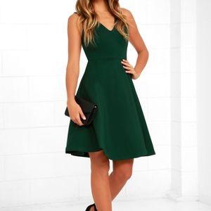 LULUS | Hello World Dark Green Midi Dress Size S